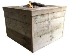Enjoy vuurtafel Block oud steigerhout