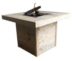 Enjoy vuurtafel oud steigerhout - 80x80 cm.